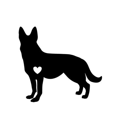 Black silhouette of german shepherd dog with white heart standig sideway isolated on white background. Vector illustration, icon, clip art. Symbol of 2018 new year.