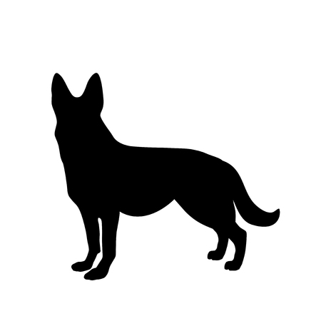 Black silhouette of german shepherd dog standig sideway isolated on white background. Vector illustration, icon, clip art. Symbol of 2018 new year.