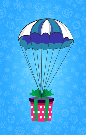 Cute cartoon vector illustration of christmas or new year gift wrapped with green ribbon .