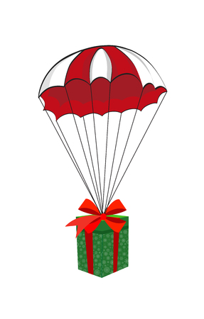 Cute cartoon illustration of christmas or new year gift wrapped on red bow falling down with red and white parachute isolated on white  background. Vector. Illusztráció