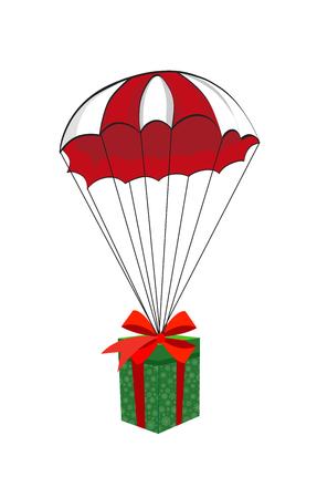 Leuke cartoonillustratie van Kerstmis of Nieuwjaargift die op rode boog wordt verpakt die neer met rood en wit valscherm vallen dat op witte achtergrond wordt geïsoleerd. Vector.