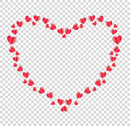 Heart border made of red folded paper hearts with space for text or image isolated on transparent background.