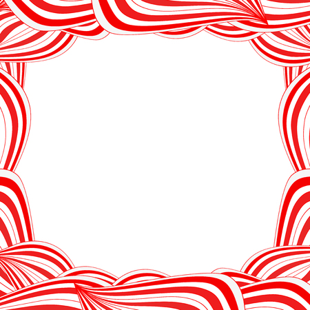 Cute festive frame with abstract striped red and white candy or lollipop pattern with space for text. Иллюстрация