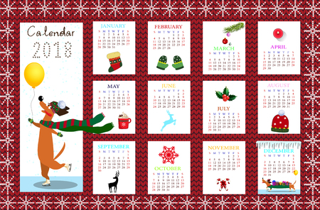 Monthly creative calendar 2018 with cute cartoon dachshund and Christmas symbols on red fabric knitted pattern.
