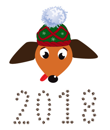 Portrait of cute cartoon dog in red Santas hat and numeral 2018 made of paw prints.