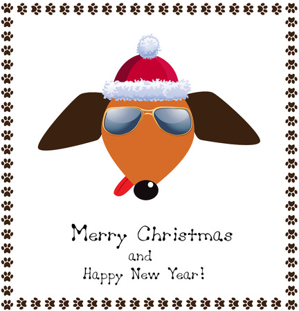 Christmas and new year greeting card with cute cartoon dog in christmas and new year greeting card with cute cartoon dog in red santas hat and sunglasses m4hsunfo