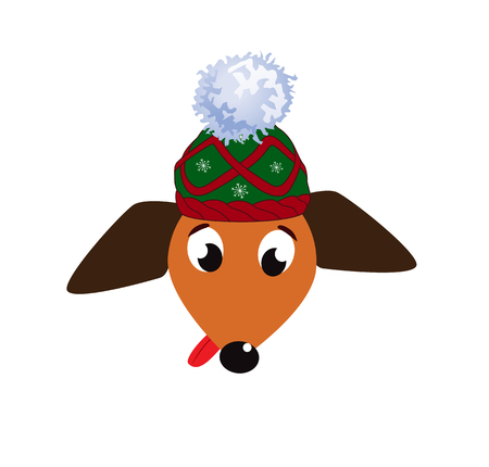Portrait of cute cartoon dog in knitted hat isolated on white illustration. Illustration