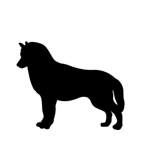Black silhouette of dog standing back ways. Illustration