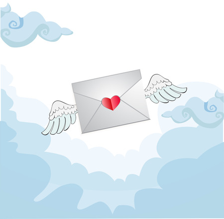 Flying love letter with white angel wings in the blue sky.