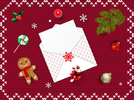 Christmas Open Envelope With Empty Sheet Fir Tree Branch Gold