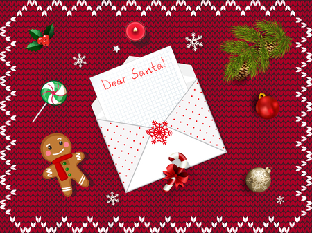 Letter To Santa Claus Christmas Card With Opened Envelope With