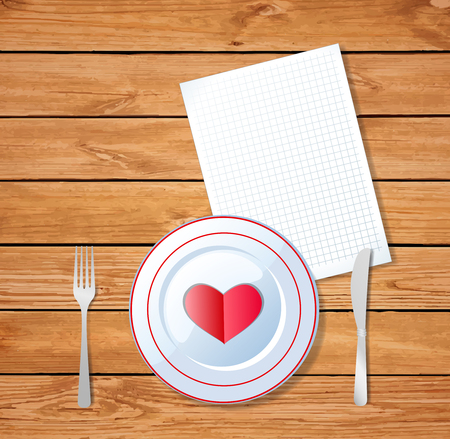 Red heart shape on a plate with knife, fork and empty note pad for message on wooden background. Romantic dinner template with space for text, love greeting card for valentines day. Vector.