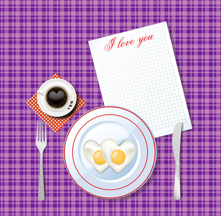 Top view vector illustration of heart shaped scrambled eggs on white plate and cup of coffee with heart on lilac chequered tablecloth background and sheet with title I love you and space for text.