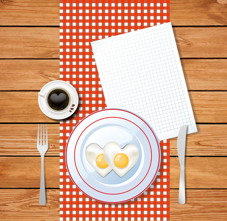 Top view vector illustration of heart shaped fried eggs on white plate and cup of coffee with heart on red and white chequered tablecloth and clear sheet with space for text on wooden table surface.