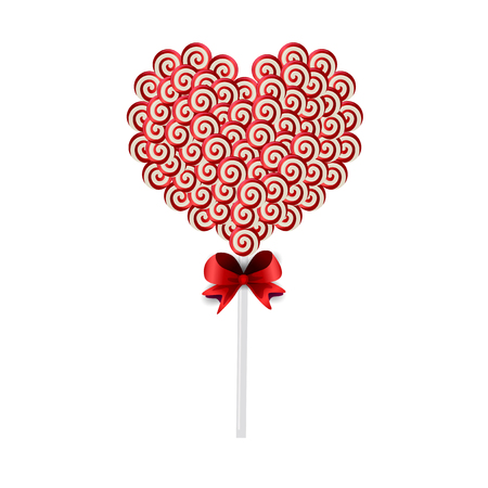 Vector illustration of red and white lolipop heart made of sweets and candies wrapped with red lace isolated on white background.