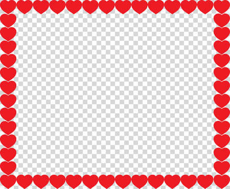 Cute red hearts border with space for text or image inside isolated on transparent background. Vector full-framed love valentines or wedding template, love photo frame with cartoon hearts. Ilustrace