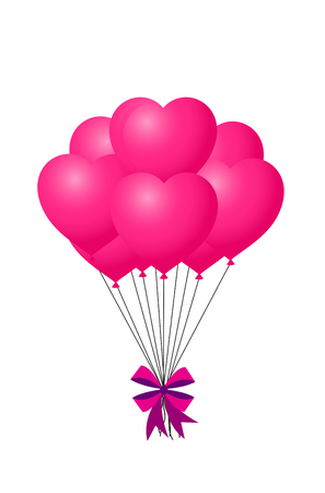 3d realistic bunch of pink birthday or valentine's balloons with bow flying for party and celebrations with space for message Isolated in white background. Vector Illustration, clip art for design.