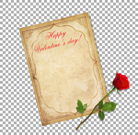 Valentines day greeting card. Old grungy paper with oriental ornament, title happy valentine's day and red elegant rose isolated on transparent. Worn template with space for text. Vintage love letter. Reklamní fotografie - 93453164