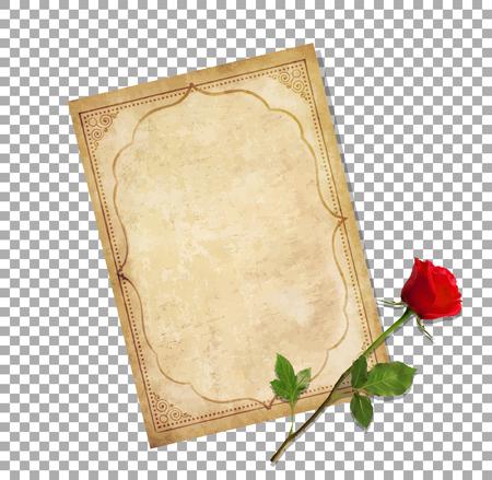 Illustrazione vettoriale altamente dettagliata del vecchio copione di carta bianca con ornamento orientale riccio e spazio per il testo con elegante rosa rossa sdraiato su di esso isolato su sfondo trasparente. Mail d'amore vintage. Archivio Fotografico - 93453165