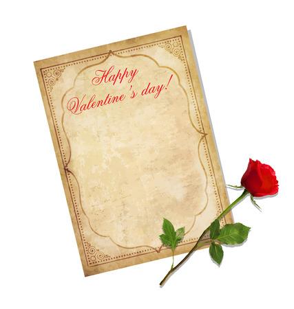 Biglietto di auguri di San Valentino. Vecchia carta sgangherata con ornamento orientale, titolo felice San Valentino e rosso elegante rosa isolato su bianco. Modello consumato con spazio per il testo. Lettera d'amore vintage Archivio Fotografico - 93453167