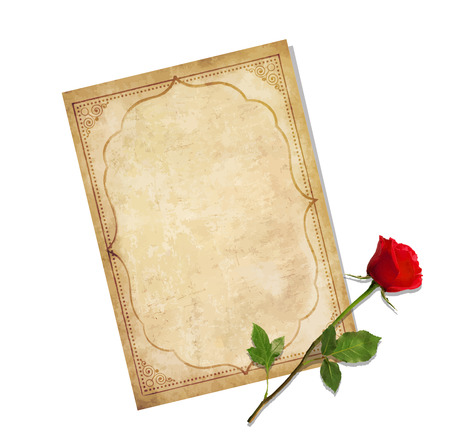 Highly detailed vector illustration of old blank paper script with curly oriental ornament and space for text with elegant red rose lying on it isolated on white background. Vintage love mail.