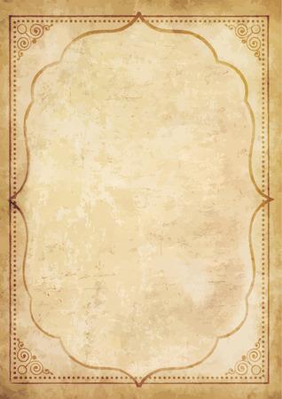 Vieux papier vintage grungy vierge avec ornement bouclé cadre oriental. Modèle de papyrus usé pour le courrier, papier à lettre âgé avec un espace pour le texte ou l'image. Illustration vectorielle très détaillée, frontière. Vecteurs