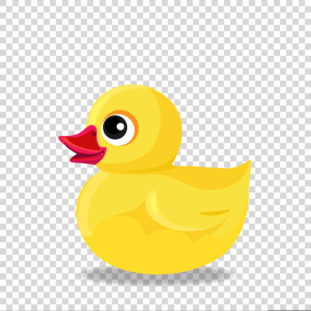 Cute yellow rubber or plastic duck toy for bath isolated on transparent background.
