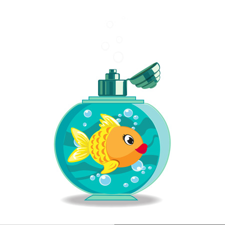 Cute cartoon goldfish in soap bottle isolated on white background.