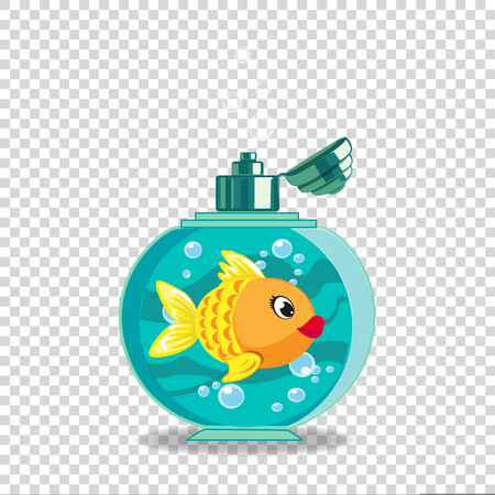Cute cartoon goldfish in soap bottle isolated on transparent background.