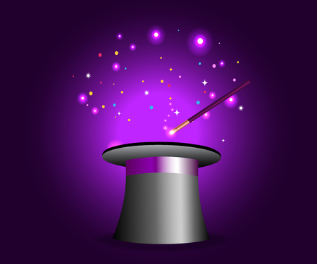Magic hat with wand on violet mysterious background with sparkling lights. Vector magician performance. Wizard illusionist show. Vector illustration.