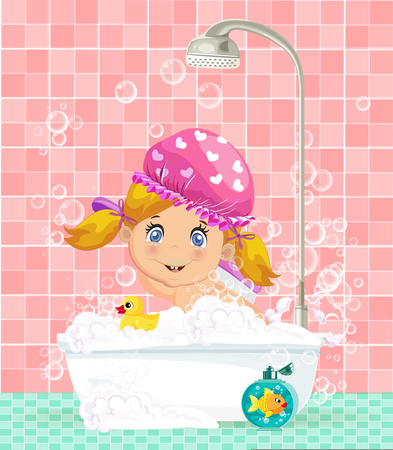 Vector illustration of cute cartoon blonde baby girl character in pink hat taking a bubble bath. Ilustração