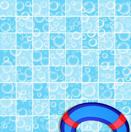 Tiled blue and white bathroom wall background and life buoy in the corner.