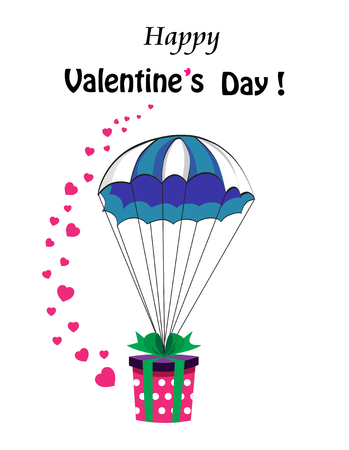 Happy Valentines day cartoon greeting card with gift wrapped with bow falling down with parachute and many cute pink hearts around. Greeting card for Valentines day.