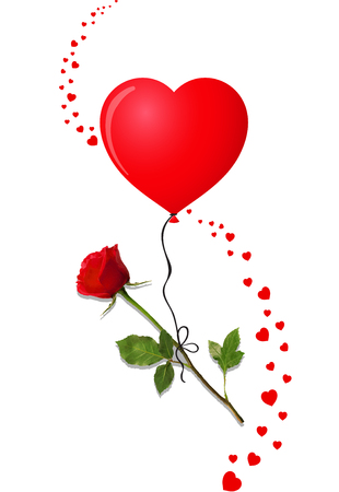 Rose with heart shaped balloon and confetti hearts