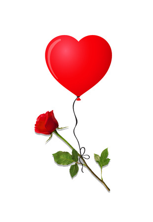 Rose with heart shaped balloon Illustration