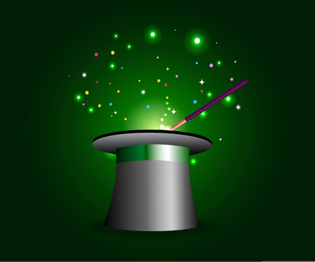 Magic hat with wand in sparkling green background. Illustration