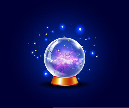 Blue shining vector plasma ball. Ilustração