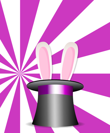 Magic hat with bunny ears on vibrant colorful pink and white sunburst rays pattern background. Illustration
