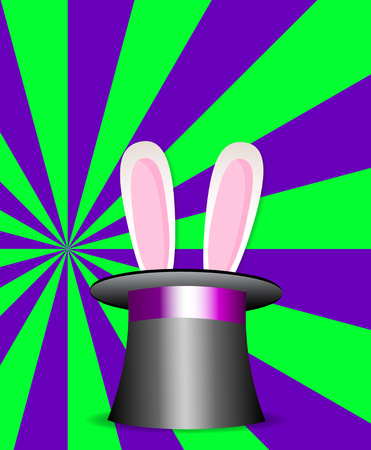 Rabbit ears appear from the magic cylinder hat on vibrant colorful green and violet sunburst pattern background.