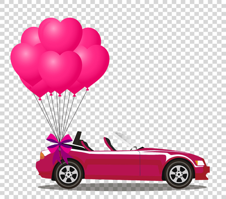 Pink modern opened cartoon car with bunch of rose and heart shaped balloons vector illustration