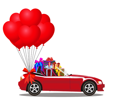 Red modern cartoon car full of gift boxes and bunch of red heart shaped balloons with festive ribbon vector illustration