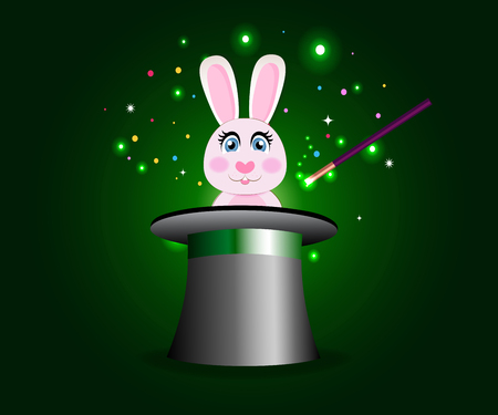 Bunny in magic hat with wand vector illustration
