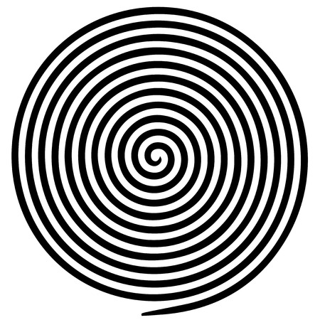 Black white round abstract vortex hypnotic spiral vector illustration