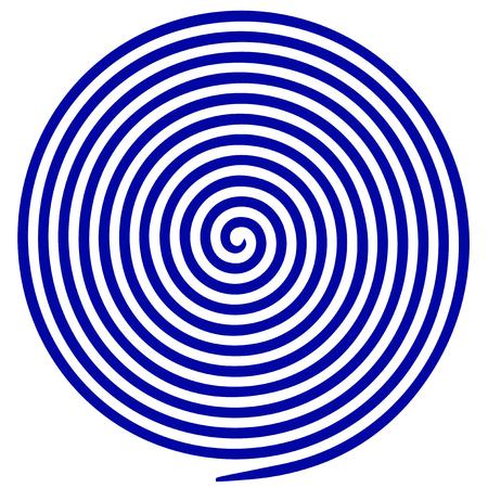 Blue and white round abstract vortex hypnotic spiral vector illustration Illustration