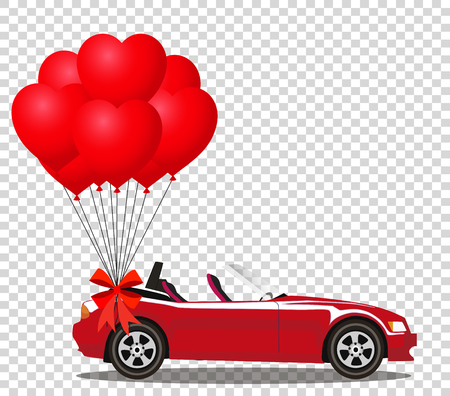Red modern opened cartoon cabriolet car with bunch of red helium heart shaped balloons with festive bow isolated on transparent background. Sports car. Vector illustration. Clip art.