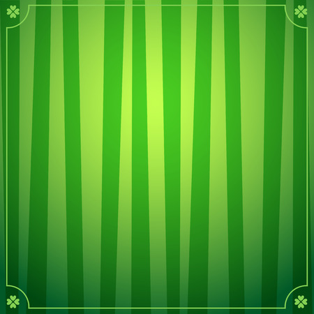 Saint Patricks Day background with green striped pattern and elegant frame with shamrocks in the corners. Vector illustration, template for greeting card, invitation, banner, poster, flyer design. Illustration