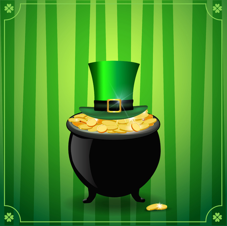Saint Patricks Day card with treasure of leprechaun, pot full of golden coins and hat on green striped background with elegant shamrock clover border. St Patricks Day symbols. Vector illustration.