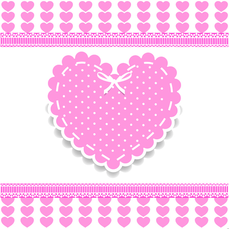 Valentines, love wedding or baby girl shower template with lacing, bow and polka dots print on white striped hearts background with lace vector border, frame. Illustration