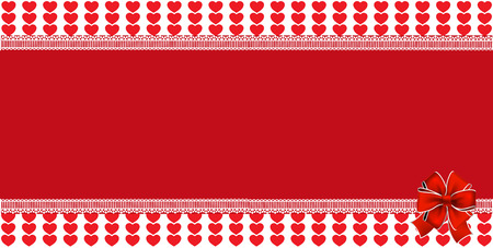 Festive wrapped template with space for text and ribbon on striped red hearts background framed with lace. Design vector element Christmas, New Year, valentines horizontal banner, border, frame.