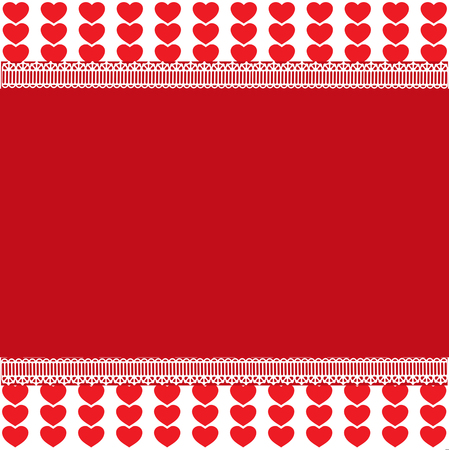 Festive template with space for text on red and white background with red heart stripes and lace. Design vector element, love border, Valentines day or wedding background, frame work, poster, banner.